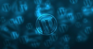 WordPress logo background blue